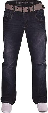 Crosshatch Mens Hardwearing Durable Quality Denim Jeans Straight Leg Dark Blue
