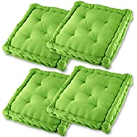 Gräfenstayn set de 4 cojines, cojines para silla de 40 x 40 x 9 cm para interior y exterior de 100 % algodón - diferentes colores - acolchado grueso, cojín acolchado / cojín para el suelo - con sello Öko-Tex Standard 100 (Verde manzana)
