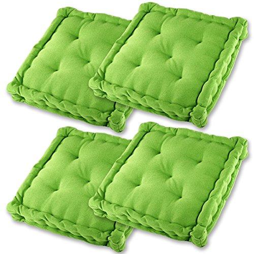 Gräfenstayn® Set de 4 Coussins d'Assise Coussins de Chaise 40x40x9cm pour intérieur et extérieur - 100% Coton - Différents Coloris – Rembourrage épais (Vert Pomme)