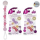 Nip chupete redondo Cherry 4 unidades Girl Set // Talla 1 // 0 – 6 meses // lila & rojo Heimess cadena de madera fabricado en Alemania