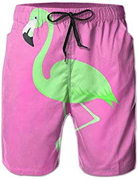 AS-Wall Men's Green Flamingo Beach Shorts Surf Board Quick-Drying Swim Trunks
