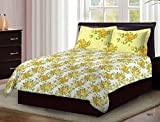 #10: Bombay Dyeing Premium Cotton Double Bedsheet With 2 Pillow Covers TC 104 Packed in a Gift Box(Yellow)