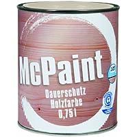 McPaint, Vernice protettiva di lunga durata per legno, colore: Bianco 0,75 Litri, Bianco (weiss)