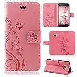 betterfon | Flower Case Handytasche Schutzhülle Blumen Klapptasche Handyhülle Handy Schale für HTC U Ultra Rosa