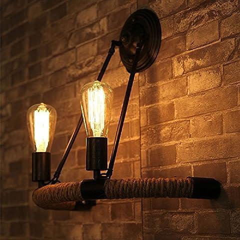 Loft Vintage Rope Wall Applique Applique App Retro 2 Lights Double Head Lined Suspension Pendentif En Country Style Wall Light 110V ~