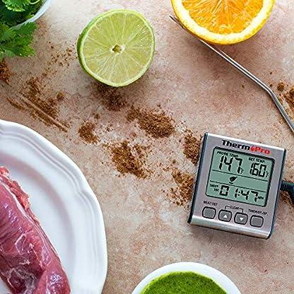 ThermoPro TP16S Termómetro Cocina Termómetros de Barbacoa Digitale para BBQ Parrilla Horno Carne Comida Líquidos con Modo de Temporizador de Cocción Inteligente y Retroiluminación