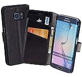 Book-Style Ledertasche Tasche für Samsung Galaxy S6 Edge *ECHT LEDER* Handytasche Case Etui Hülle (Original Suncase) in schwarz
