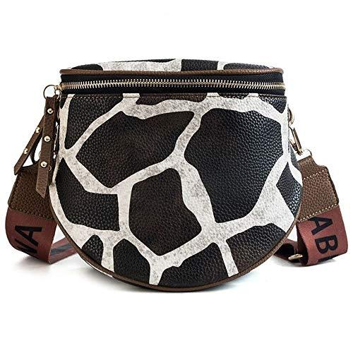 Geraffte Zebra (QISTAR Leopardenmuster eimer frau handtasche pu leder handtasche mit schultergurt für frauen umhängetaschen handtasche weibliche umhängetasche reisehandtasche WorthHavingit)