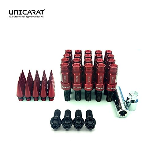 BLOXSPORT the Original forged wheel bolts Lug Nuts geschmiedete 3 in 1 Radschrauben Bolzen Muttern Rot Red 12.9 Kegelbund 60° M12x1.5 28mm