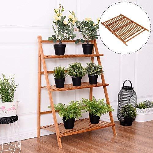 LLYU Support de pot de fleur de support de fleur extérieur/intérieur se pliant échelle de support de plante de bambou