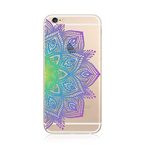 Coque iPhone 5 5s Housse étui-Case Transparent Liquid Crystal en TPU Silicone Clair,Protection Ultra Mince Premium,Coque Prime pour iPhone 5 5s-Mandala-New-style 17 21