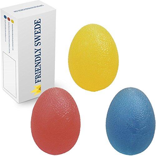 The Friendly Swede 3 Stück Eiförmige Griffbälle - Antistressball, Handtrainer und Fingertrainer mit unterschiedlichen Härtegraden (Klein)