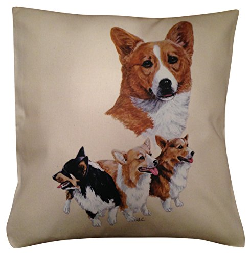 Image of Corgi Group Breed of Dog Cotton Cushion Cover - Choice of Cream or White - Perfect Gift (Cream)