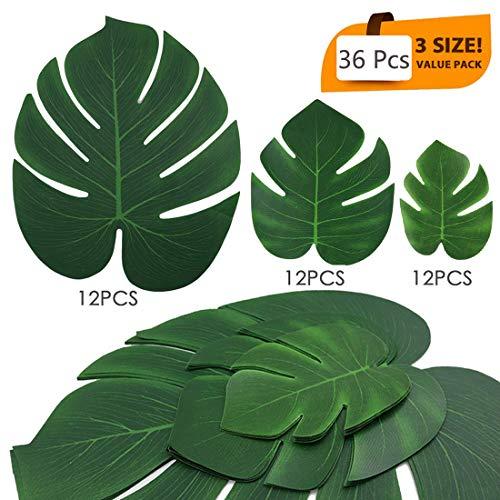 JKXCVXDH 36 Pack 3 Arten künstliche Palmblätter, Faux Tropical Leaves Safari Leaves für Hawaii Party Supplies