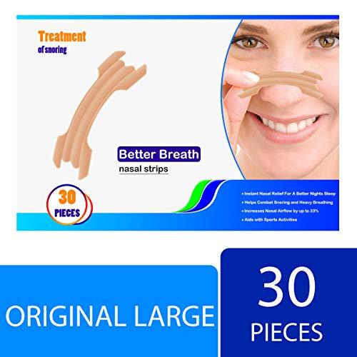 Nasenstrips, anti Schnarchen Nasenpflaster, Schnarchenstopper gegen Schnarchen und bessere Atmung beim Schlafen,Größe L(30 Stück)