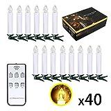 SunJas 10/ 20/ 30/ 40 er Weinachten LED Kerzen Lichterkette Kerzen Weihnachtskerzen Weihnachtsbaum Kerzen mit Fernbedienung Kabellos (Weiss, 40er)
