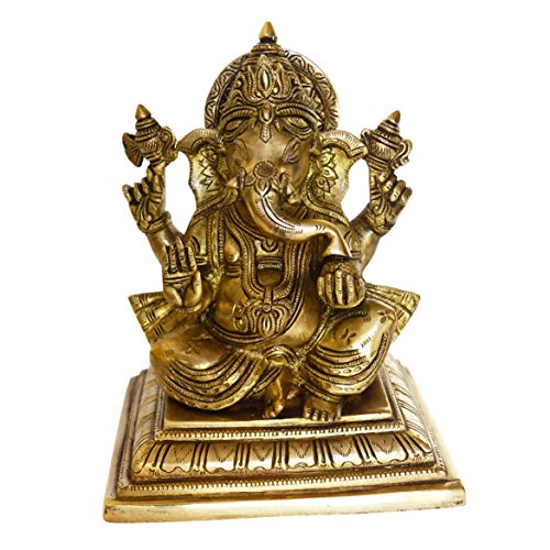 Brass Statue Of Lord Ganesha With Antique Finish Look For Home Temple - Handmade Metal Handicrafts - Table Decor Showpiece- Hindu Idol