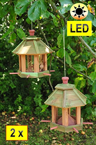 Bird House Weatherproof Red Large Feeding Area/Winter Fixed with roof Futterhaus Hanging Bird Table Feeding Station