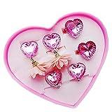 Rosa Liebes-Reihen-Kinderring und Ohr-Ring-justierbarer Schmuck mit rosa Schmuckkästchen