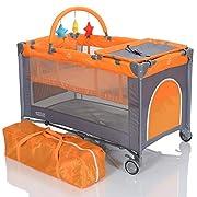 LCP Kids Baby-Reisebett 120x60 klappbar mit Neugeborenen Einlage Wickelauflage in Grau Orange