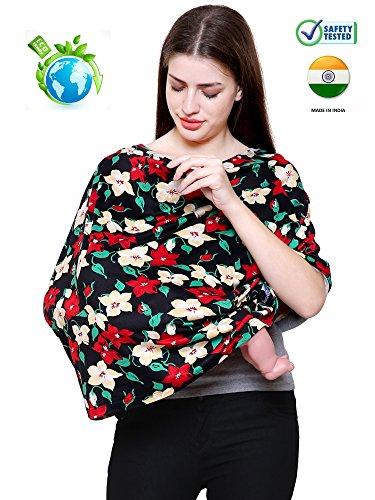 Feather Hug 360 Nursing Cover for Breastfeeding mother, women, Mom, Multi Use, Feeding Cloak,Poncho, scarf, ups, Wrap, Breathable, Canopy, Babysitting, Maternity, Kurti, Shawl, Apron, Poplin (Mangolian Floral)