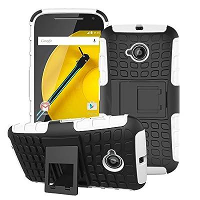 Funda para Motorola Moto E (2nd Gen),EMAXELERS Heavy Duty Funda para Moto E2,Motorola Moto E2 Funda Combo híbrido resistente a prueba de golpes pesados doble capa Grip duro case con stand Cover Carcasas para Motorola Moto E (2nd Gen) with 1 x Stylus Pen