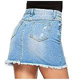 Avondii Damen Denim Rock A-Linie Kurz Jeansrock mit Taschen und Destroyed-Look (XXL)