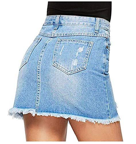 Avondii Damen Denim Rock A-Linie Kurz Jeansrock mit Taschen und Destroyed-Look (M) -ausschnitt A-linie Kurz