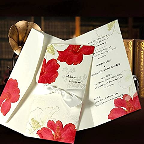 Floral Hibiscus Personalised Pocket Wedding Invitations With Printed Inserts In A Pale Ivory and Red Flower Design