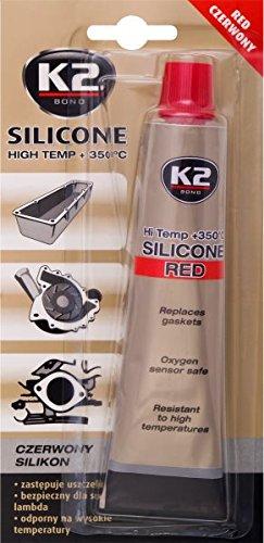 K2 Hochtemperatur Silikon, Dichtmasse, Dichtsilikon, hochtemperaturbeständig bis +350°C, rot, 85g - Ventildeckel 350