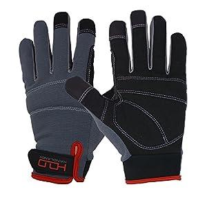 Gants de travail Handlandy tactiles pour homme – Cuir synthétique – Arrière en spandex respirant et flexible – Poignets et paumes rembourrés, noir