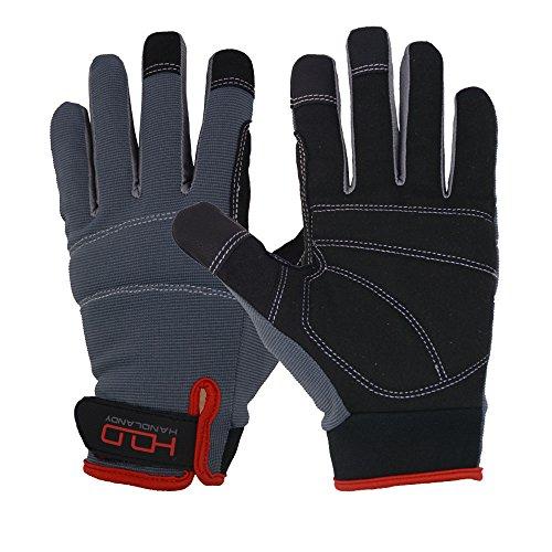 Herren Arbeitshandschuhe Touchscreen, Kunstleder Utility Handschuhe, Flexible Atmungsaktive Spendex Back-Padded Knuckles & Palm (M) -