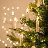 Beautystar LED Weihnachtskerzen Kabellos Christbaumkerzen Baumkerzen mit Fernbedienung Warmweiß, Flammenlose, Infrarot (20X Warmweiß)