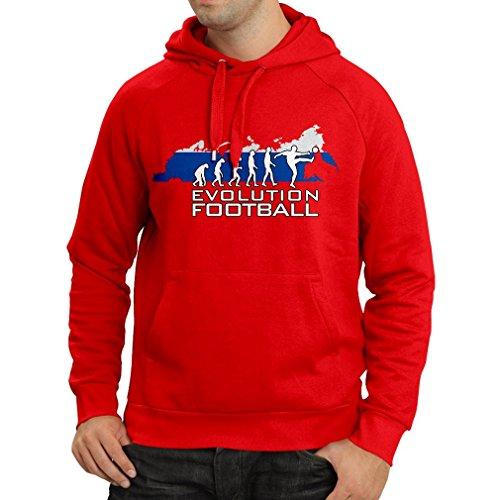 lepni.me N4508H Felpa con Cappuccio Evolution Football - Russia (Medium Rosso
