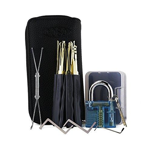 lockmall (24) Premium Praxis Lockpicking-Kits mit Transparent Blau Vorhängeschloss (Eintrag Tür-hardware)