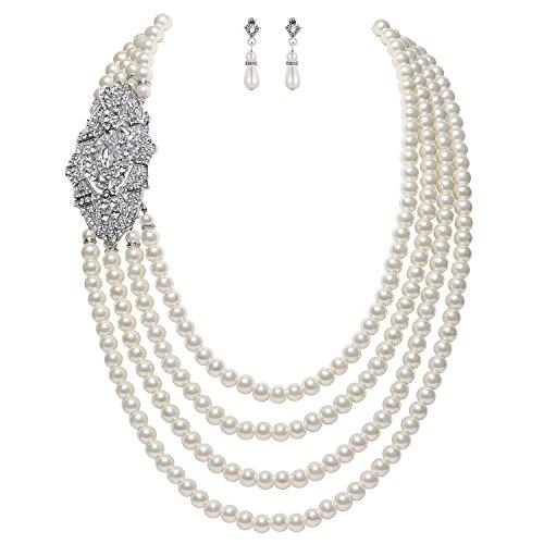 Artideco, collana di finte perle, multistrato, stile anni '20, Il Grande Gatsby, con spilla di cristallo a forma di fiore