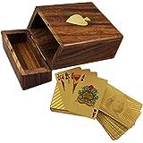 Cuadro titular de la tarjeta de juego de madera - baraja de oro chapado en dólares jugando a las cartas - los regalos de navidad - 3,81 x 11,18 x 8,64 cm