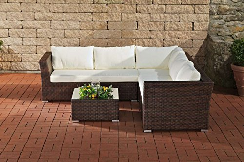 CLP 12 teiliges Set: Gartengarnitur TERRA aus Aluminium & Polyrattan (5 Sitzplätze) inkl. Polstern & Kissen braun-meliert