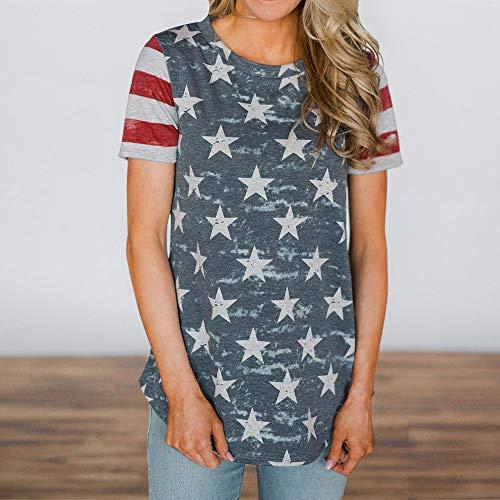 TYML Frauen Kurzarm Mode Fünf-Stern Druck Pullover Tops Shirt Weibliche Flagge Drucken Kurzarm Top