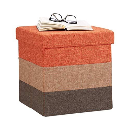 relaxdays pouf imbottito con contenitore, a strisce, colorato, pieghevole, marrone-arancione, hxlxp: 38 x 38 x 38 cm