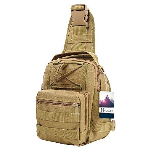Imagen de hukoer bolsa deportiva de hombro  táctica para hombro al aire libre,bandolera bolso crossbody de nylon multiusos deporte, acampada camping , excursionismo, senderismo trekking caqui