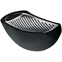 Alessi A Di Parmenide Grater with Cheese Cellar in Thermoplastic Resin, Black and Steel Mirror Polished