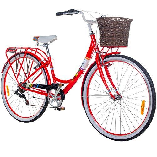 Chill 28 Zoll Damenrad Citybike Fahrrad Hollandrad Damenfahrrad 6 Gang, Farbe:rot, Rahmengrösse:19 Zoll