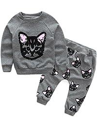 ASHOP Bebé Conjunto de ropa de bebé para niños de manga larga Chándal con estampado de gatos conjuntos de pantalones