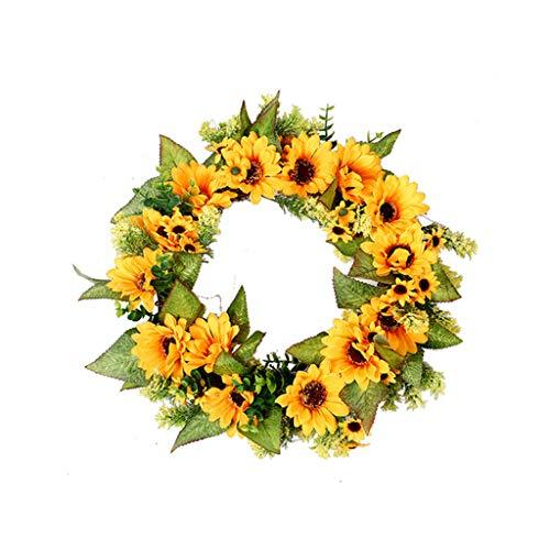 Wokee Deko Kranz Sonnenblumen Für Outdoor Türkranz Blumenkranz Dekorative Pfingstrose Landschaftsbau Kranz (Outdoor Beleuchtete Kranz)
