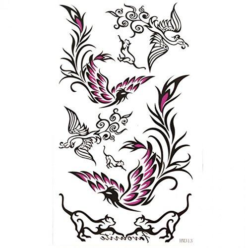 King Horse Noir et pourpre Phoenix autocollant de tatouage étanche et de la sueur
