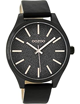 Oozoo Damenuhr mit Lederband 42 MM Black/Glitzer/Schwarz C9124