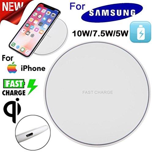 Stand Lg Base (MMLC Dünne Gebühr Qi-drahtloses Aufladungsauflage für Samsung-Galaxie S9/S9 +/s8/s8 +/Anmerkung 8 iPhone x/8/8 Galaxie S7/S7 Rand LG V10 und Anderes Qi gefällig Gerät Wireless Charger (Weiß))
