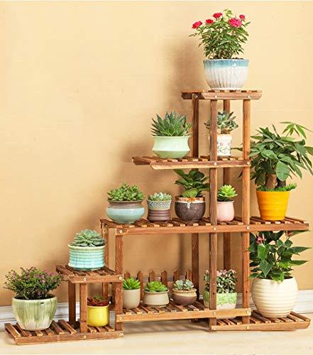 LLYU Escalier de fleurs multi-couche/étagère pour plantes/jardin en bois affichage présentoir de pot de fleurs stand extérieur/intérieur