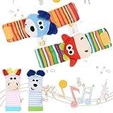 BeesClover 4 Pcs Campanilla de Muñeca Manos Developmental de Animal Juguete Suave Infantil de Bebé Buscadores de Pies y Traqueteo